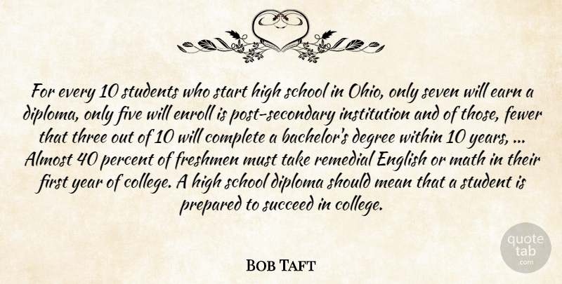 Bob Taft Quote About Almost, Complete, Degree, Diploma, Earn: For Every 10 Students Who...