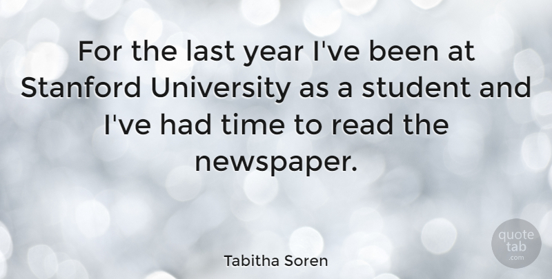 Tabitha Soren: For the last year I\'ve been at Stanford University as ...