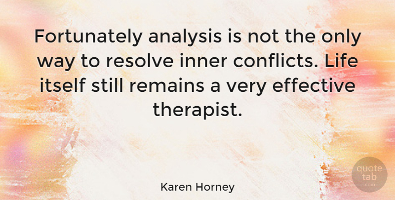 Karen Horney Quote About Life, Spiritual, Women: Fortunately Analysis Is Not The...