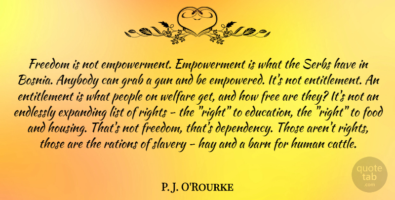 P. J. O'Rourke Quote About Gun, Rights, People: Freedom Is Not Empowerment Empowerment...