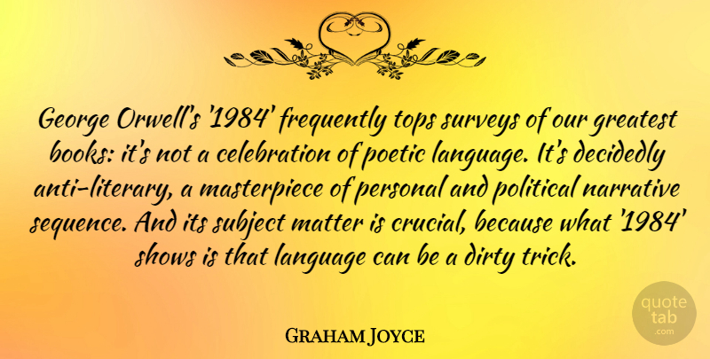 Graham Joyce Quote About Decidedly, Dirty, Frequently, George, Greatest: George Orwells 1984 Frequently Tops...
