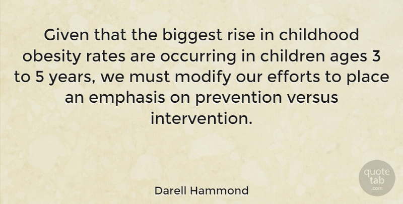 Darell Hammond Quote About Ages, Biggest, Children, Efforts, Emphasis: Given That The Biggest Rise...