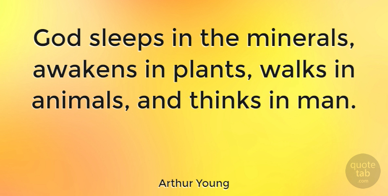 Arthur Young Quote About Inspirational, God, Sleep: God Sleeps In The Minerals...
