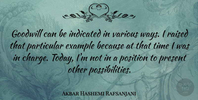 Akbar Hashemi Rafsanjani Quote About Example, Goodwill, Particular, Position, Raised: Goodwill Can Be Indicated In...
