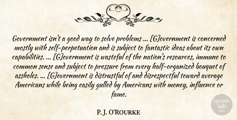 P. J. O'Rourke Quote About Government, Self, Average: Government Isnt A Good Way...