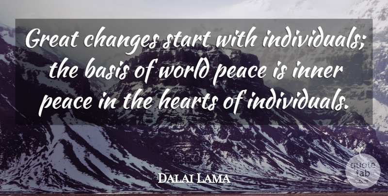 Dalai Lama Quote About Heart, Inner Peace, World: Great Changes Start With Individuals...