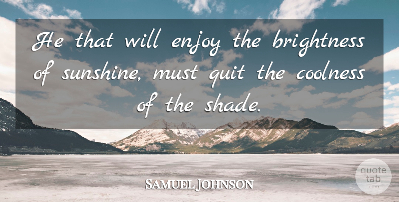 Samuel Johnson Quote About Sunshine, Shade, Brightness: He That Will Enjoy The...