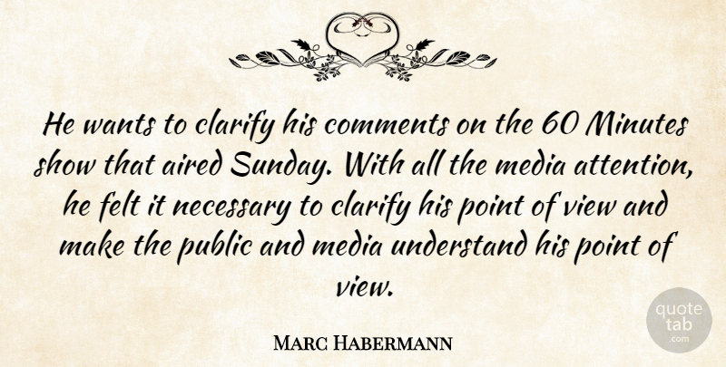 Marc Habermann Quote About Clarify, Comments, Felt, Media, Minutes: He Wants To Clarify His...