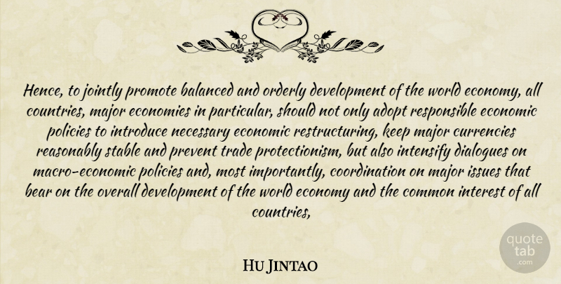 Hu Jintao Quote About Adopt, Balanced, Bear, Common, Dialogues: Hence To Jointly Promote Balanced...