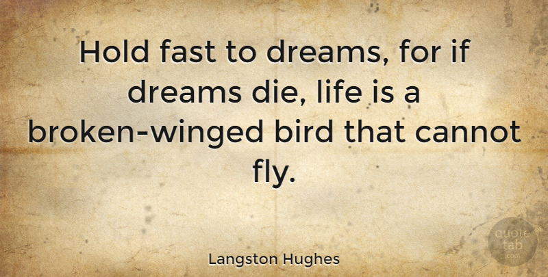 Langston Hughes Quote About Love, Inspirational, Change: Hold Fast To Dreams For...