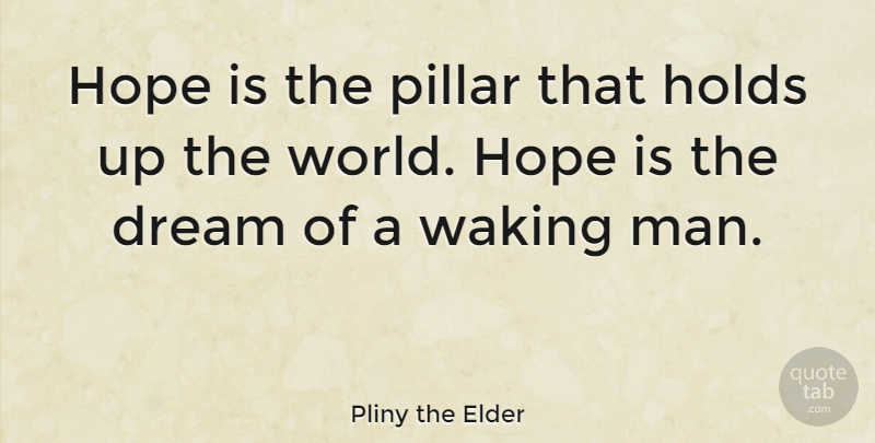 Pliny the Elder Quote About Dream, Hope, Men: Hope Is The Pillar That...