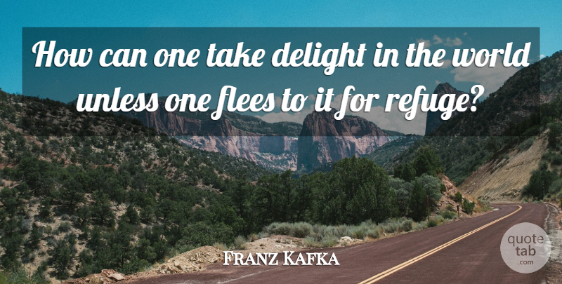 Franz Kafka Quote About Literature, World, Delight: How Can One Take Delight...