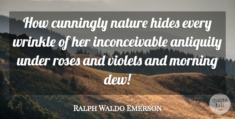 Ralph Waldo Emerson Quote About Nature, Morning, Wrinkles: How Cunningly Nature Hides Every...