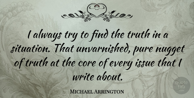 Michael Arrington Quote About Writing, Issues, Trying: I Always Try To Find...