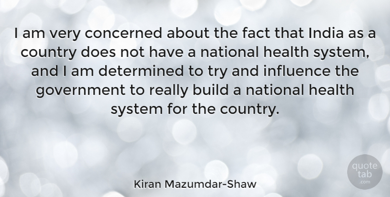 Kiran Mazumdar-Shaw Quote About Build, Concerned, Country, Determined, Fact: I Am Very Concerned About...