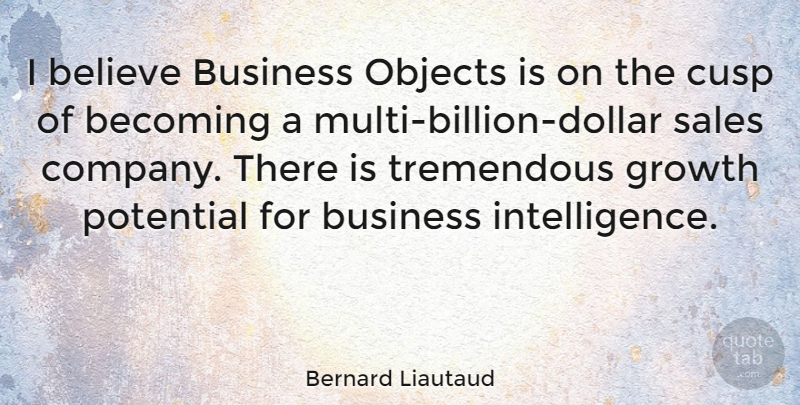 Bernard Liautaud Quote About American Architect, Becoming, Believe, Business, Cusp: I Believe Business Objects Is...