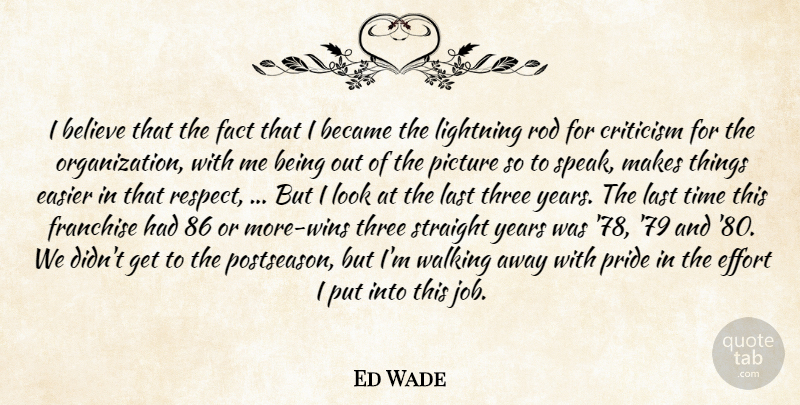 Ed Wade Quote About Became, Believe, Criticism, Critics And Criticism, Easier: I Believe That The Fact...