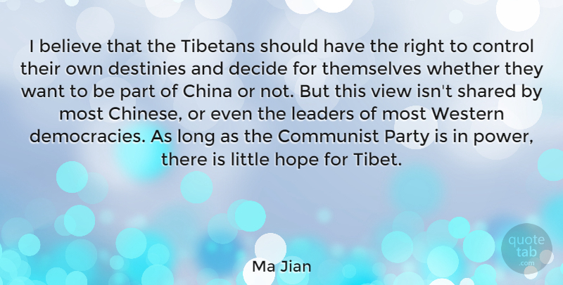 Ma Jian Quote About Believe, China, Communist, Decide, Destinies: I Believe That The Tibetans...