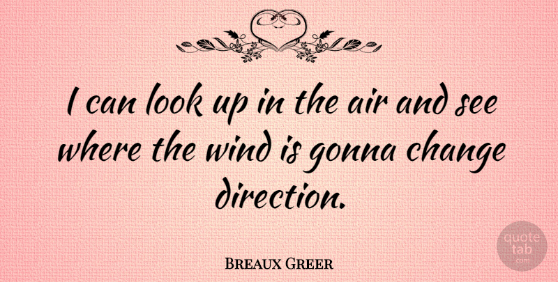 Breaux Greer Quote About Up In The Air, Wind, Looks: I Can Look Up In...