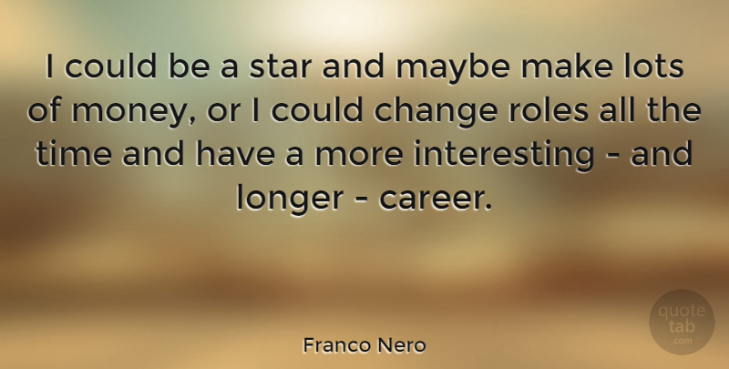 Franco Nero Quote About Stars, Careers, Interesting: I Could Be A Star...