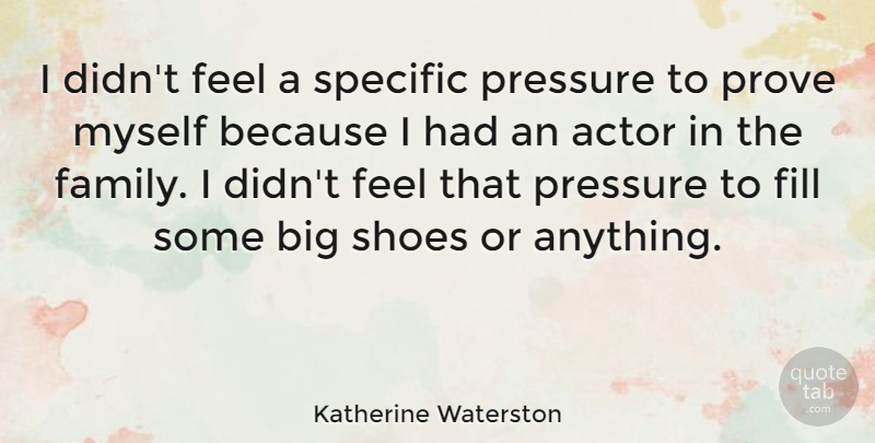 Katherine Waterston Quote About Family, Fill, Pressure, Prove, Shoes: I Didnt Feel A Specific...