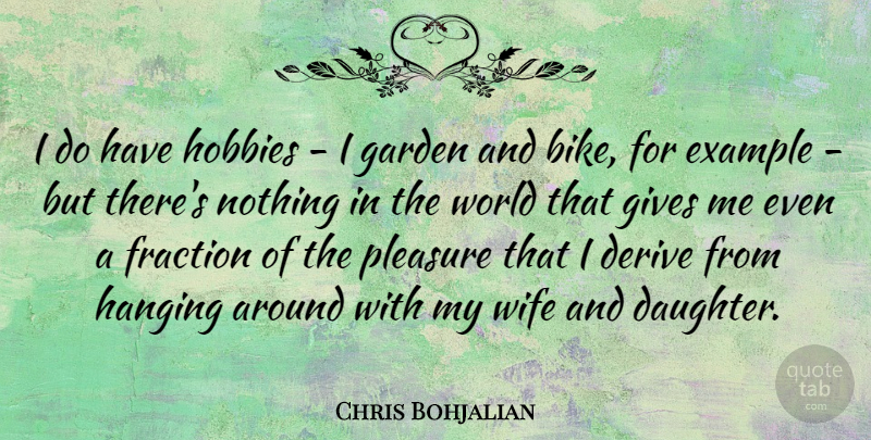 Chris Bohjalian Quote About Derive, Example, Fraction, Garden, Gives: I Do Have Hobbies I...