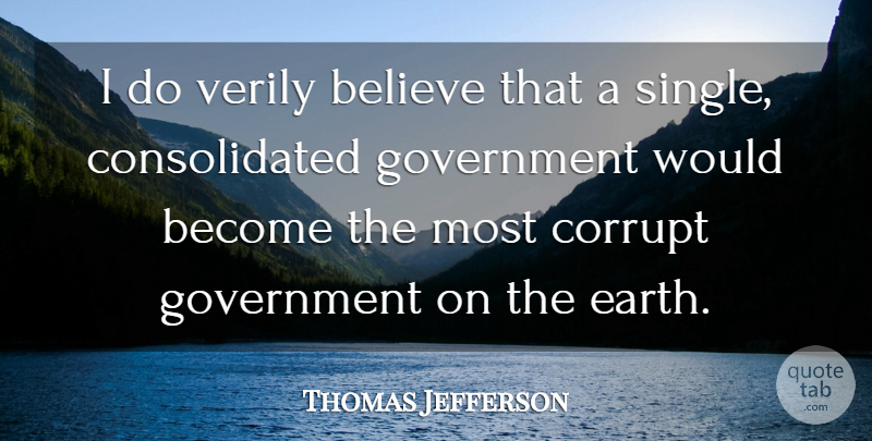 Thomas Jefferson Quote About Believe, Government, Earth: I Do Verily Believe That...