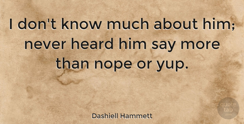 Dashiell Hammett Quote About American Author: I Dont Know Much About...