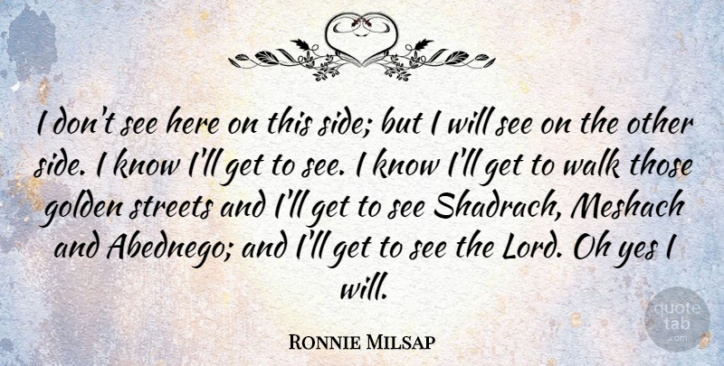 Ronnie Milsap Quote About Golden, Sides, Lord: I Dont See Here On...