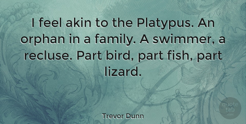 Trevor Dunn Quote About Bird, Lizards, Swimmer: I Feel Akin To The...