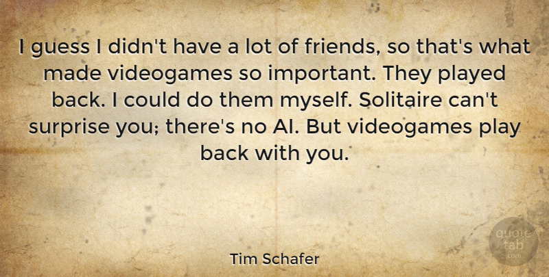 Tim Schafer Quote About Videogames: I Guess I Didnt Have...