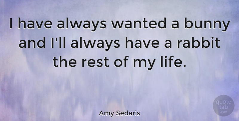 Amy Sedaris Quote About Easter, Rabbits, Bunnies: I Have Always Wanted A...