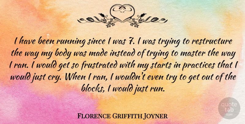 Florence Griffith Joyner Quote About Running, Block, Practice: I Have Been Running Since...