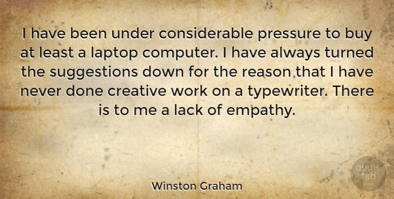 Winston Graham I Have Been Under Considerable Pressure To Buy At