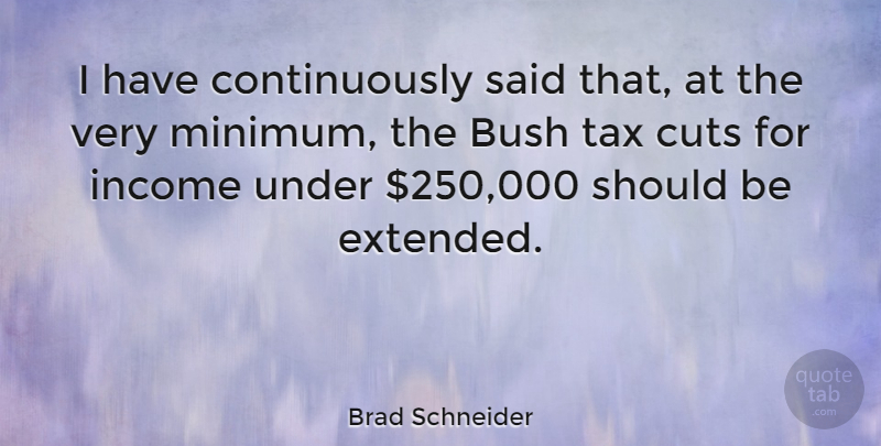 Brad Schneider Quote About Bush, Cuts: I Have Continuously Said That...