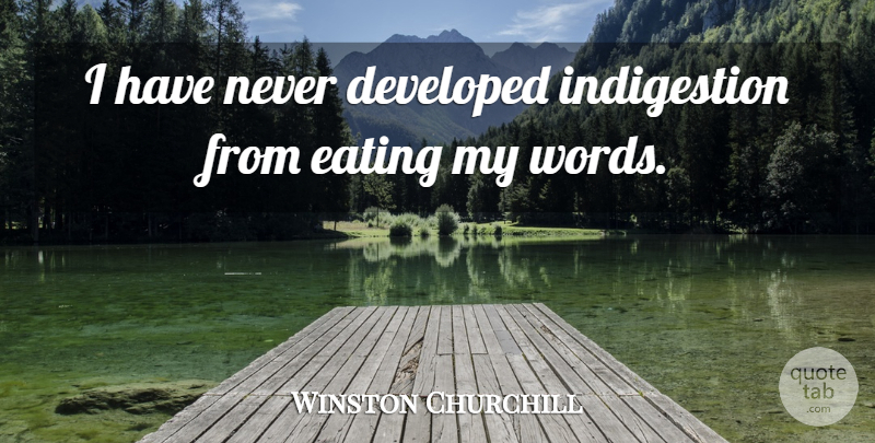 Winston Churchill Quote About Humorous, Eating, Indigestion: I Have Never Developed Indigestion...