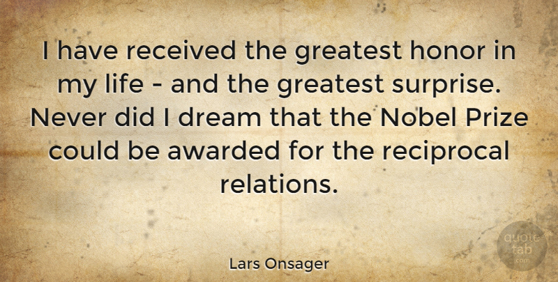 Lars Onsager I Have Received The Greatest Honor In My Life And