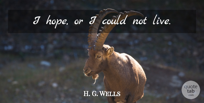 h g wells i hope or i could not live quotetab