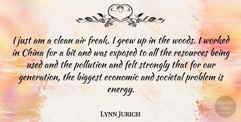 Lynn Jurich Quote About Air, Biggest, Bit, China, Clean: I Just Am A Clean...