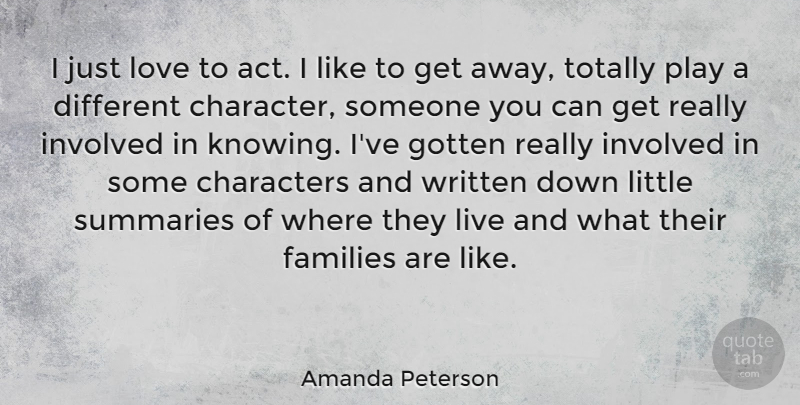 Amanda Peterson Quote About Character, Play, Knowing: I Just Love To Act...