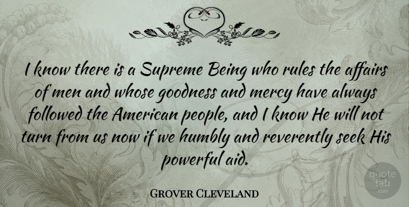 Grover Cleveland I Know There Is A Supreme Being Who Rules