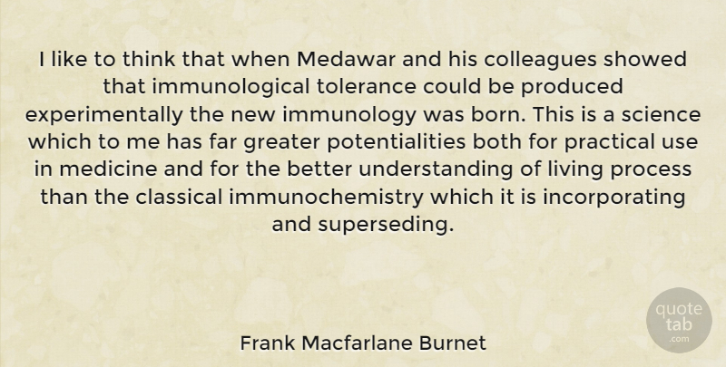 Frank Macfarlane Burnet Quote About Thinking, Medicine, Tolerance: I Like To Think That...