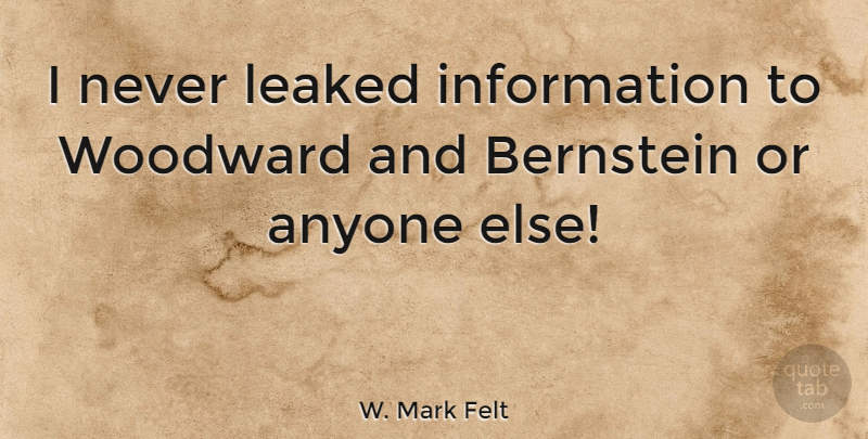 W. Mark Felt Quote About Information: I Never Leaked Information To...