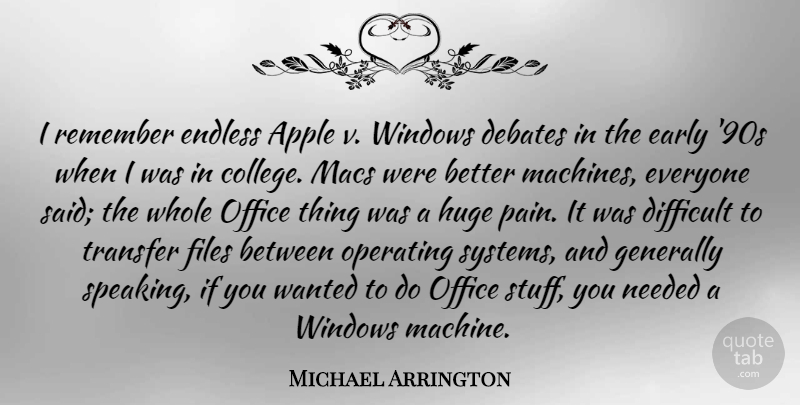Michael Arrington Quote About Apple, Debates, Early, Endless, Files: I Remember Endless Apple V...