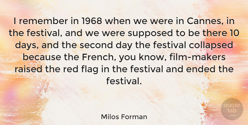 Milos Forman Quote About Collapsed, Ended, Festival, Raised, Second: I Remember In 1968 When...