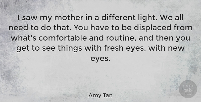 Amy Tan Quote About Mother, Eye, Light: I Saw My Mother In...
