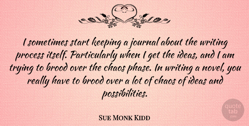 Sue Monk Kidd I Sometimes Start Keeping A Journal About The