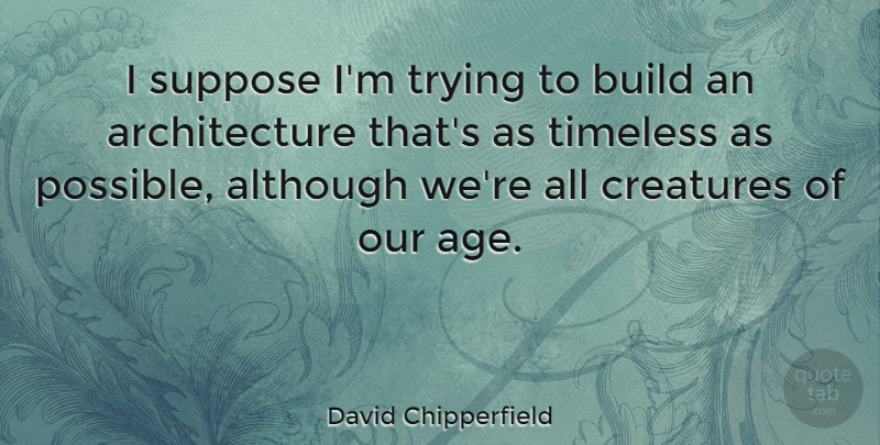David Chipperfield Quote About Age, Trying, Architecture: I Suppose Im Trying To...