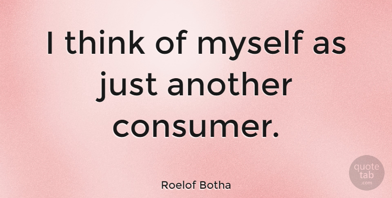 Roelof Botha Quote About Thinking, Consumers: I Think Of Myself As...
