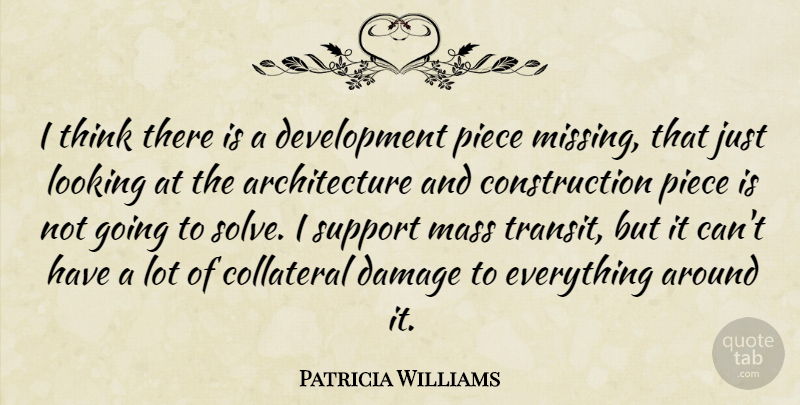 Patricia Williams Quote About Architecture, Collateral, Damage, Looking, Mass: I Think There Is A...